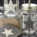 8er Set Trinkglas Stern mit silbernen Deckel Strohhalm + Karten