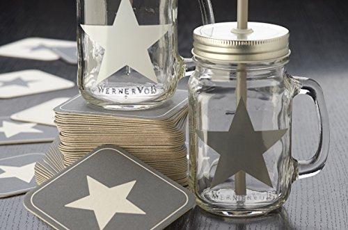 8er set trinkglas stern mit silbernen deckel strohhalm karten. Black Bedroom Furniture Sets. Home Design Ideas