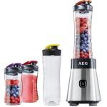 AEG PerfectMix SB 2500 Mini Mixer mit 0,4 PS-Power-Motor inklusive extra Trinkflasche 1 x bruchfeste 0,6 l + 2 x 0,3 l BPA-freie Tritan-Trinkflaschen