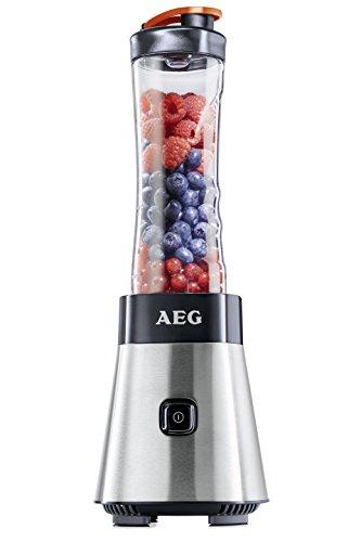 AEG PerfectMix SB2400 Mix & Go Mini Mixer mit 0,4 PS-Power-Motor (bis zu 23.000 U/min, 4 Edelstahlmesser, bruchfeste 0,6 l BPA-freie Tritan-Trinkflasche)