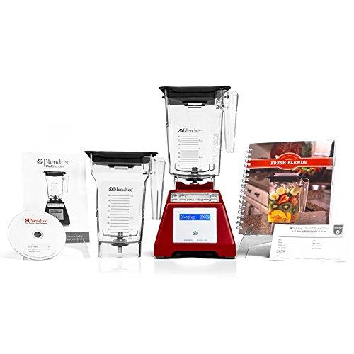 Blendtec Insgesamt Blender mit Wildside Container + Vierseiten Container + Kochbuch + Schnellstartanleitung und Rezept DVD - Rot
