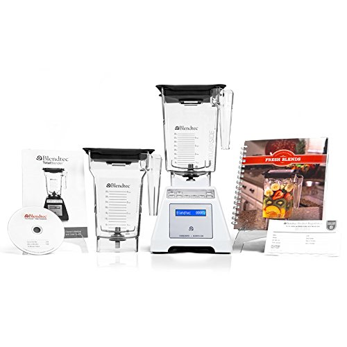 Blendtec Total Blender with WildSide Container + FourSide Container + Cookbook + Quick Start Guide and Recipe DVD - White