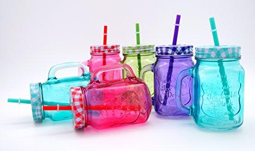 Farbige Trinkgläser mit Deckel und Strohhalm, 6 Gläser im Set (4 Farben)