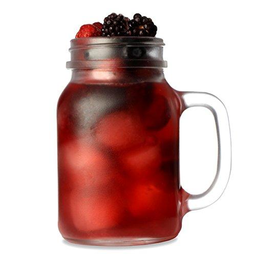 Frosted Mason Trinken Glas, 0.5 Liter, 4-er Set in Geschenkbox Trinkglas, Gläser für Cocktails und Smoothies ...