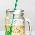 GILDE Partyglas mit Aludeckel, Henkel und Strohhalm, 7x10x13 cm