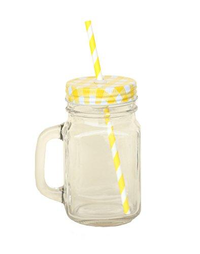 Glas-Becher mit Strohhalm und 420 ml, Deckel zum Aufschrauben, Metall, Deckel mit Silikondichtung Stroh und wiederverwendbar-Glas Griff wie ein Einweckglas, geeignet für smoothies & Früchte entsaften