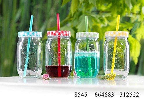 Glas mit farblichem Deckel und Strohhalm 500 ml 4er Set bunt sortiert Gläserset Trinkglas Bowle Cocktail