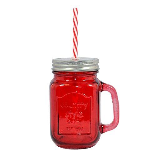 Glass Maurer-Gläser - Mason Trinken Gläser mit Stroh 14oz / 400ml Country Style (1, Rot)