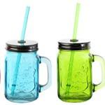 Gläser mit Deckel + Strohhalm Trinkglas Glas bunt mit Henkel 450ml 4er Set Cocktailglas Bowleglas modern buntes Glas ausgefallen