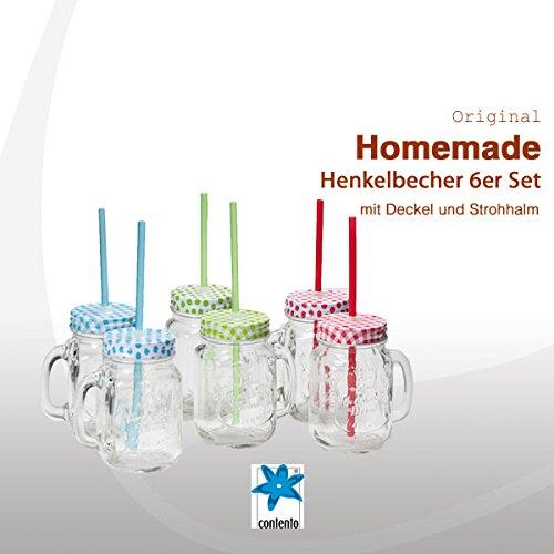 HOMEMADE 6 Henkelgläser 450 ml mit farbigen Deckel und 6 Strohhalmen