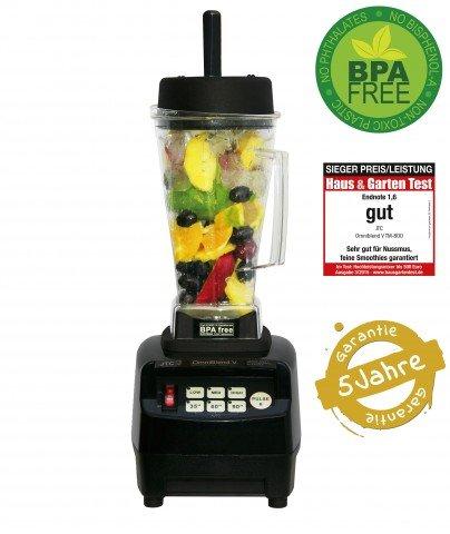 JTC OmniBlend TM800V in Verschiedenen Farben mit 2,0 Liter und 1,5 Liter Tritan Behälter BPA-frei (2 liter, Schwarz )