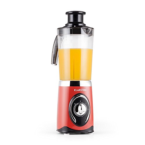 Klarstein Fruizooka 4 in 1 Mixer Mini-Standmixer Smoothie Maker Universal-Zerkleinerer und Entsafter (220W, Kreuzklingen-Aufsatz, Zentrifugalentsafter-Aufsatz, 3 Mixbehälter, Mahlwerk) rot
