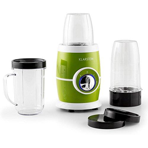 Klarstein Juicinho Verde Smoothie Maker To Go Mini-Standmixer Mixer Set (220 Watt, 8-teilig, 2 Geschwindigkeiten, Pulse, Edelstahl-Klingen) grün
