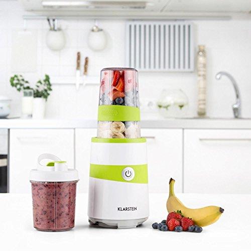 Klarstein Vitalic Mini-Mixer Standmixer Smoothie Maker Küchenmixer (1000 Watt, 6-Klingen-Kreuz-Aufsatz, Flachklingen-Schlagmahlwerk, 2 Mixbecher to go) weiß