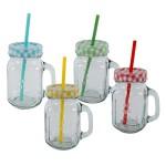 MT Glas mit Henkel incl. Deckel und Strohhalm 4er Set