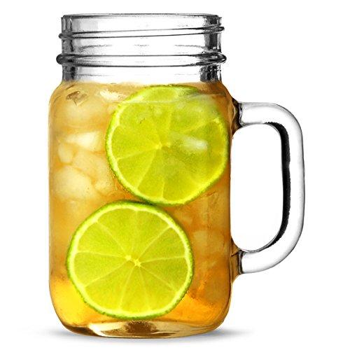 Mason Trinken Glas Gläser, 490 ml, 4 Stück, in Geschenkbox, Vintage-Stil, Glas,