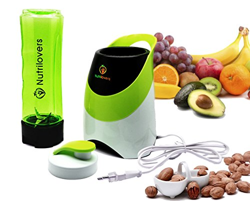 NUTRILOVERS Mini-Standmixer | Smoothie-Maker to GO mit Trinkflasche (BPA-frei, spülmaschinenfest) Edelstahl-Messer, bis zu 23.000U/min - bester Smoothie Mixer | Blender Maschine | Smoothies | Mini Blender - grün