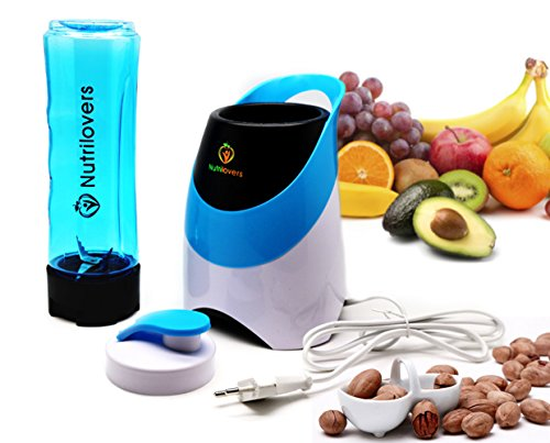 NUTRILOVERS Standmixer-Mini | Smoothie-Maker mit Trinkflasche to GO (BPA-frei) Edelstahl-Messer, bis zu 23.000U/min - NUTRI-TWIST bester Smoothie-Mixer | Standmixer | Smoothies | Blender Maschine - blau