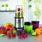 Nutrition Mixer Mr. Magic Royal 10-tlg. Edelstahl + Natural Superfood Smoothie Buch