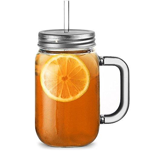 Plastic Mason Jar Trinken Gläser 20 Unzen / 568ml - Packung mit 4 - bar@drinkstuff BPA frei SAN Kunststoff-TrinkgläserJars mit Deckel & Straw