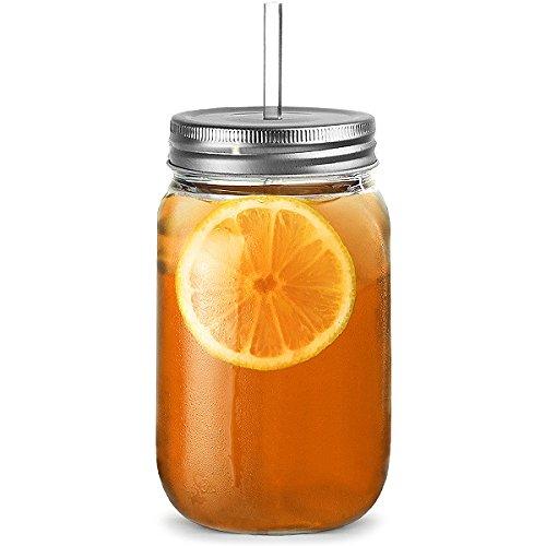 Plastic Mason Jar Trinken Trinkgläser 20 Unzen / 568ml - Packung mit 4 | bar @ Drink SAN Kunststoff-TrinkgläserJars mit Deckel & Straw, Jam Jar Brille