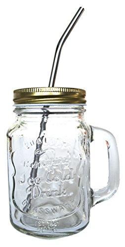 Ready to Go festen Deckel, ALABAMA Eco Mason Gläser Becher mit Griff Edelstahl Strohhalme Smoothies Green Entsaften Säfte trinken