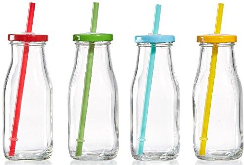 Ritzenhoff & Breker 159684 Trinkflaschen Set Summer mit Trinkhalm und Deckel, 4-teilig jede 330 ml, farblich sortiert Trinkgläser Glas 33 x 17 x 17 cm, grün/Blau/rot/gelb