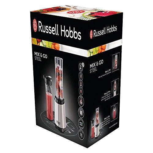 Russell Hobbs 23470-56 Mix und Go Steel / Smoothie Maker mit 0,4 PS Power-Motor zwei BPA-freie Trinkflaschen, edelstahl, 300 W
