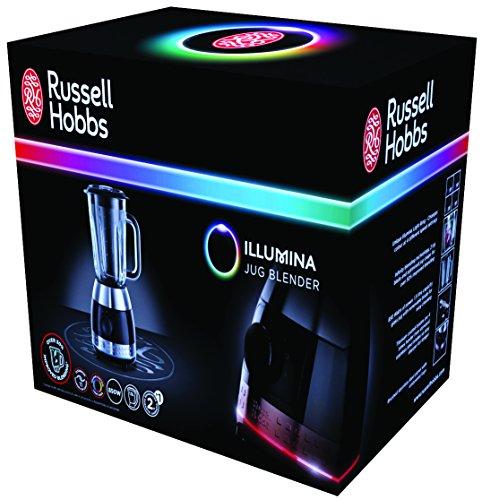 Russell Hobbs Illumina 20230-56 Standmixer (1,4 PS Power-Motor, 850 Watt, bis zu 18.000 U/min) mit 4-farbigem Illumina Leuchtring/ schwarz/silber