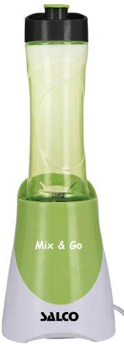 SALCO SM-14 Mix undGo Smoothie Maker, Standmixer mit 2 verschließbaren Trinkflaschen, 300 ml und 600 ml, grün / weiß
