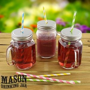 Set of 4 Mason Glass Drinking Jars with Lid & Handle
