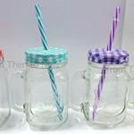 Set von 4Glas Mason Trinken Gläser mit Gingham-farbige Deckel Stroh & Griff