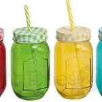 Strohhalm Trinkgläser bunt 4er Set grün gelb blau rot je 8x13 cm / 450 ml *** VOLL IM TREND ***