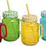 Strohhalm Trinkgläser bunt mit Henkel 4er Set rot grün gelb blau je 8x13 cm / 450 ml *** VOLL IM TREND ***