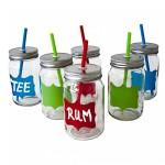 ToCi Retro Cocktail Party Trinkgläser Set 6 x 450 ml mit Deckel und Strohhalm