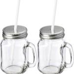 Trinkbecher mit Strohhalm im Set 4 x Gläser mit Deckel und Strohhalm Trinkgläser