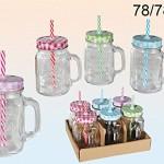 Trinkglas - Einmachglas mit Henkel und Deckel mit Strohhalm - 4 STK
