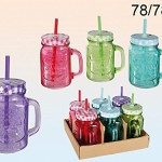 Trinkglas - Einmachglas mit Henkel und Deckel mit Strohhalm - 4er Set