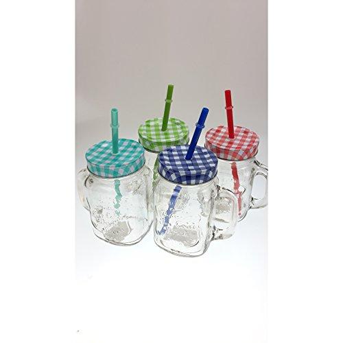 Trinkglas Henkel Deckel Bunt Strohhalm Trinkbecher (4er Set)