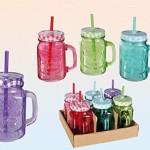 Trinkglas farbig mit Henkel und farbigem Deckel mit Strohhalm Einmachglas Optik 500 ml 6 Stück
