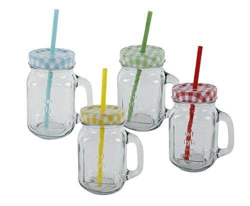 Trinkglas mit Deckel & Strohhalm 4er Set Trinkgläser mit Henkel