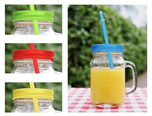 Trinkgläser mit Henkel mit Deckel und Trinkhalm 4 Gläser Set a 0,45l