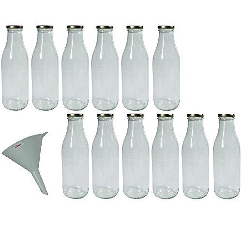 Viva-Haushaltswaren - 12 leere Weithals-Glasflaschen 1,0 l / Saftflaschen inkl. einem Einfülltrichter Ø 12 cm