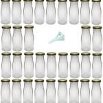 Viva-Haushaltswaren - 32 kleine Weithals-Glasflaschen / Saftflaschen 156ml inkl. einem Einfülltrichter Ø 5 cm