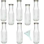 Viva-Haushaltswaren - 8 Weithals-Glasflaschen / Saftflaschen 256 ml inkl. einem Einfülltrichter Ø 9 cm