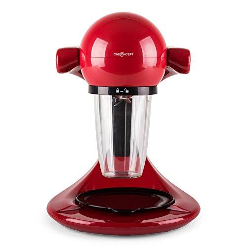 oneConcept Smoooothy | Mini Smoothie Maker / elektrischer Drink Mixer / Milkshake Mixer | 350 Watt starke Leistung | leichte Reinigung | modernes Design | ideal für die Zubereitung von Frucht-Smoothies, Dressings, Soßen, Dips | inkl. 3 verschiedener Becher, Becheraufsatz und -unterlage | Farbe: Rot
