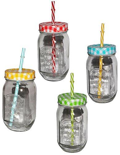 """1 Stk _ Glas mit Strohhalm & Deckel - bunte Farben - Trinkbecher als """" Milchglas """" Sommerglas - Flasche z.B. Limonade Erfrischung Sommer - Smoothie Becher Trinkglas Trinkflasche"""