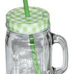 """1 Stk _ Henkelbecher - Glas mit Strohhalm & Deckel - bunte Farben - Trinkbecher als """" Milchglas """" Sommerglas - Flasche z.B. Limonade Erfrischung Sommer - Smoothie Becher Trinkglas Trinkflasche"""