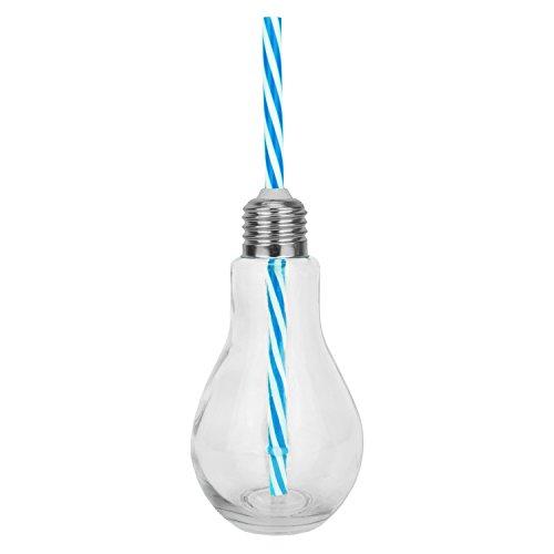 1 x Trinkgläser - Glühbirne Motiv aus Glas mit Strohhalm und Deckel - blau