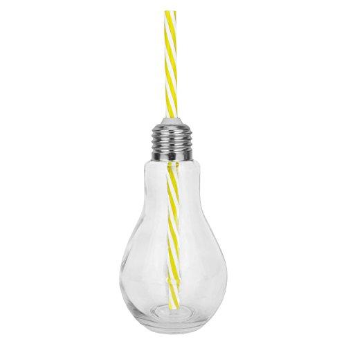 1 x Trinkgläser - Glühbirne Motiv aus Glas mit Strohhalm und Deckel - gelb